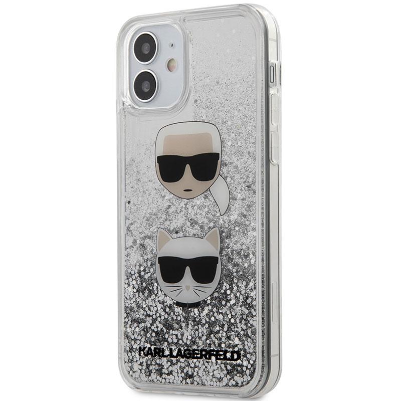 Karl Lagerfeld Liquid Glitter 2 Heads Silver Kryt iPhone 12 Mini