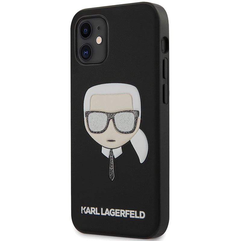Karl Lagerfeld Liquid Glitter Head Black Kryt iPhone 12 Mini
