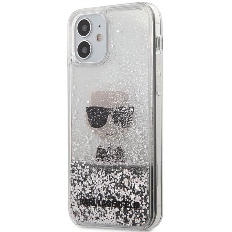 Karl Lagerfeld Liquid Glitter Iconic Silver Kryt iPhone 12 Mini