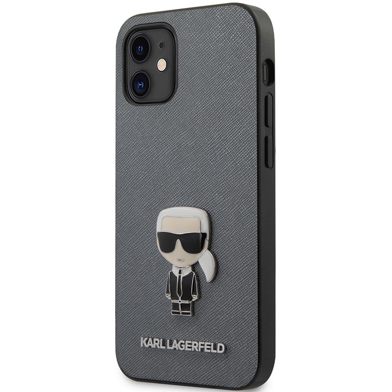 Karl Lagerfeld Saffiano Iconic Silver Kryt iPhone 12 Mini