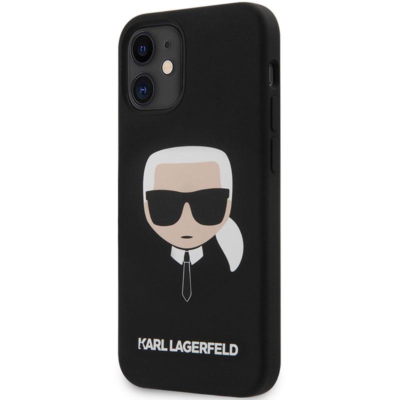 Karl Lagerfeld Silicone Head Black Kryt iPhone 12 Mini